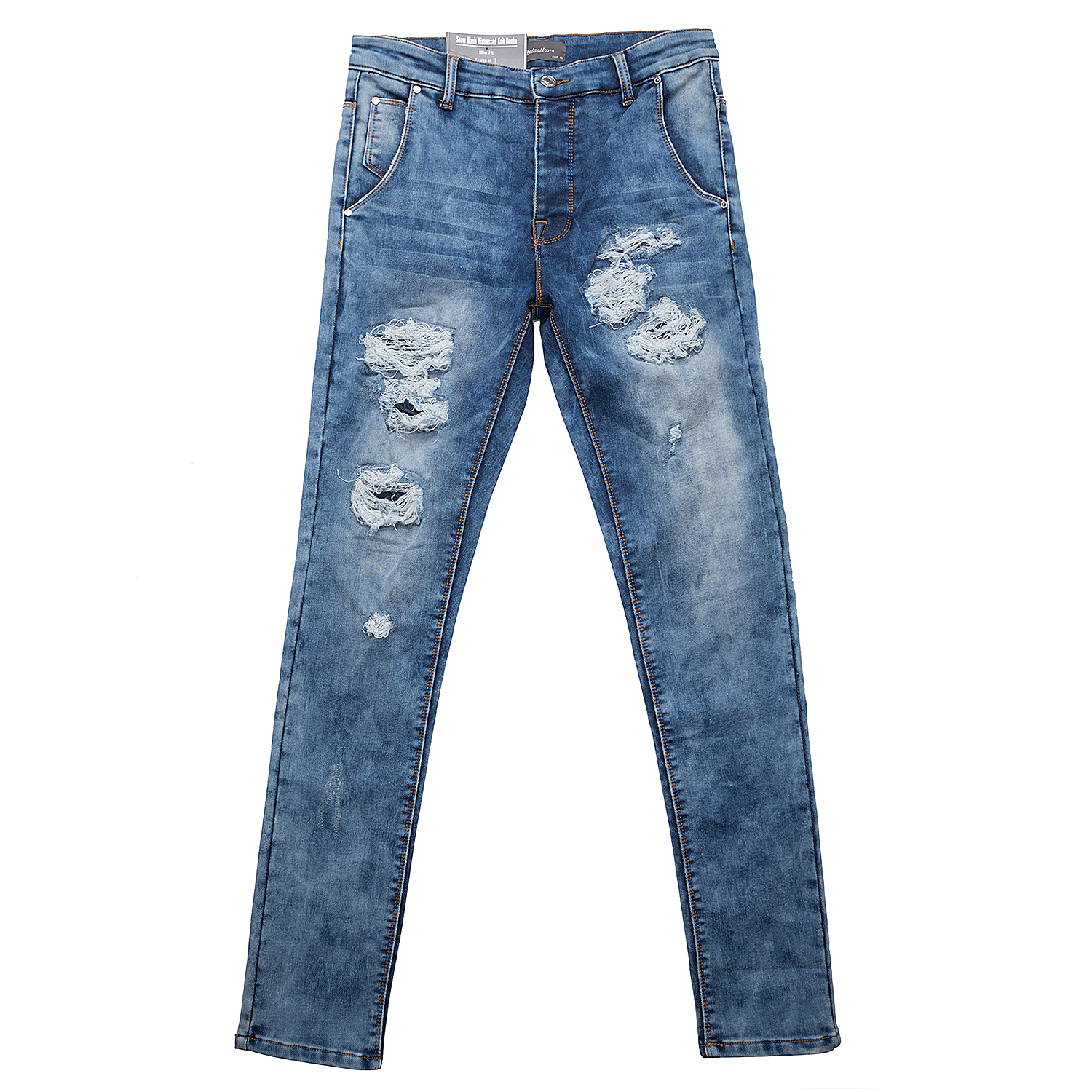 <b>Distressed Knit Denim Jeans</b>