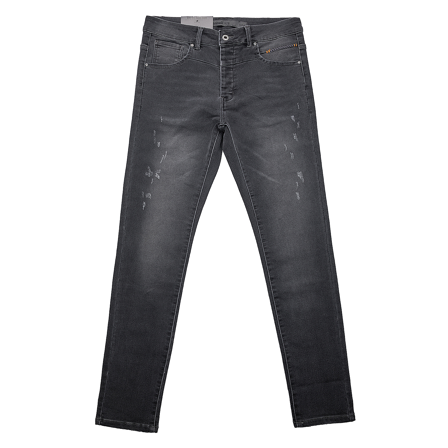 <b>Grey Knit Denim Slim Fit Jeans</b>