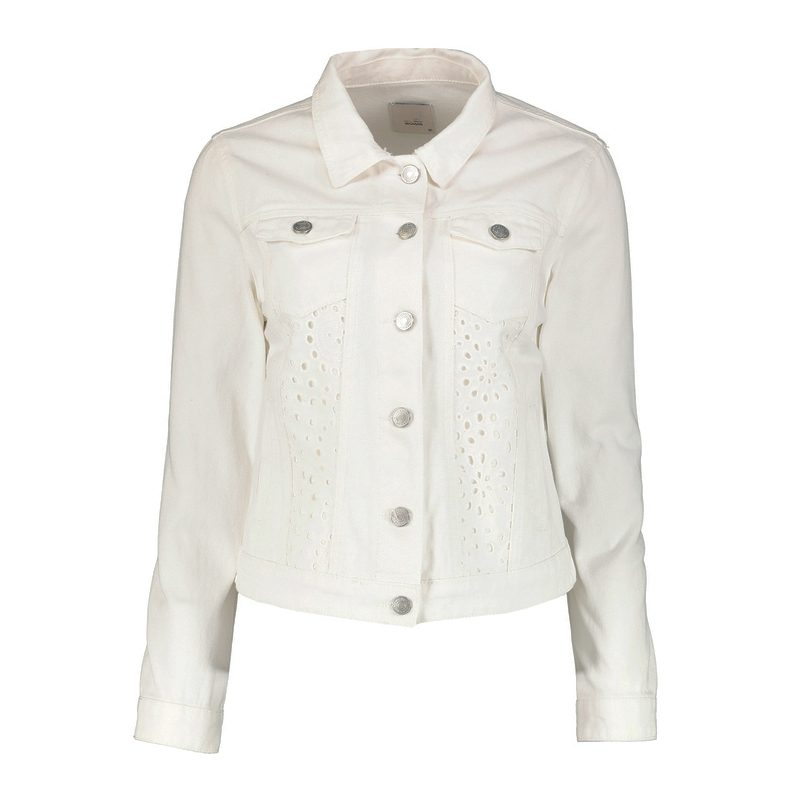 White Denim Jacket with Lace Detail