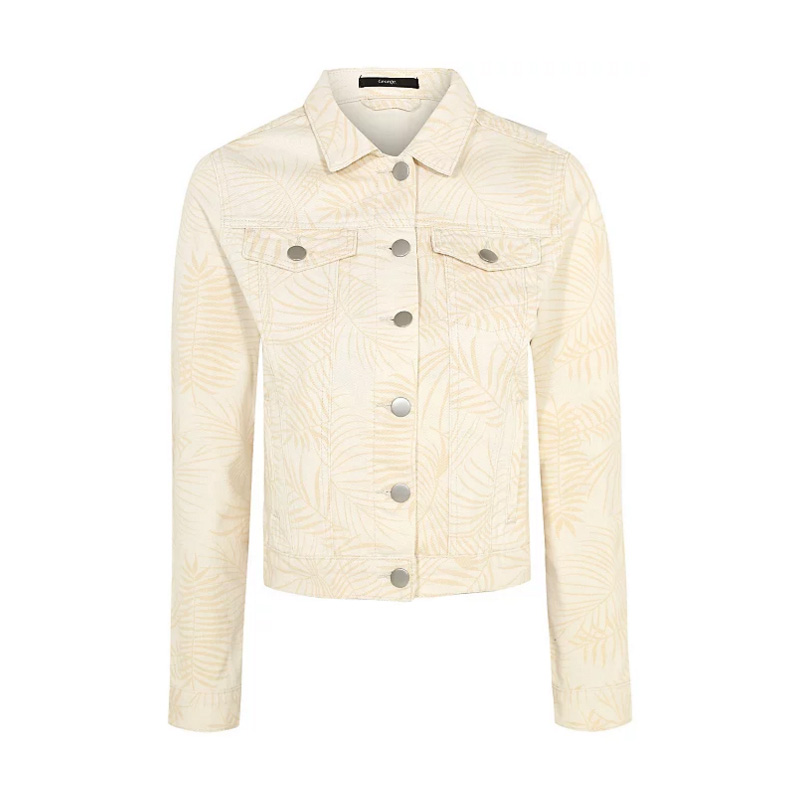 Cream Palm Print Denim Jacket