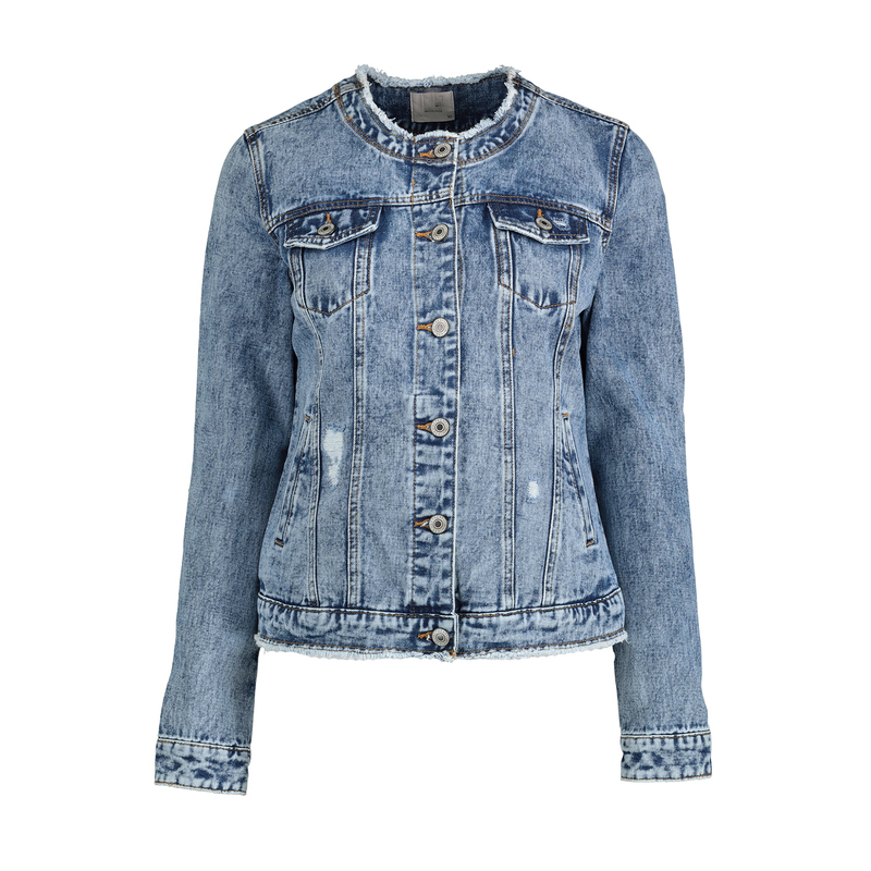 Blue Collarless Stonewashed Denim Jacket