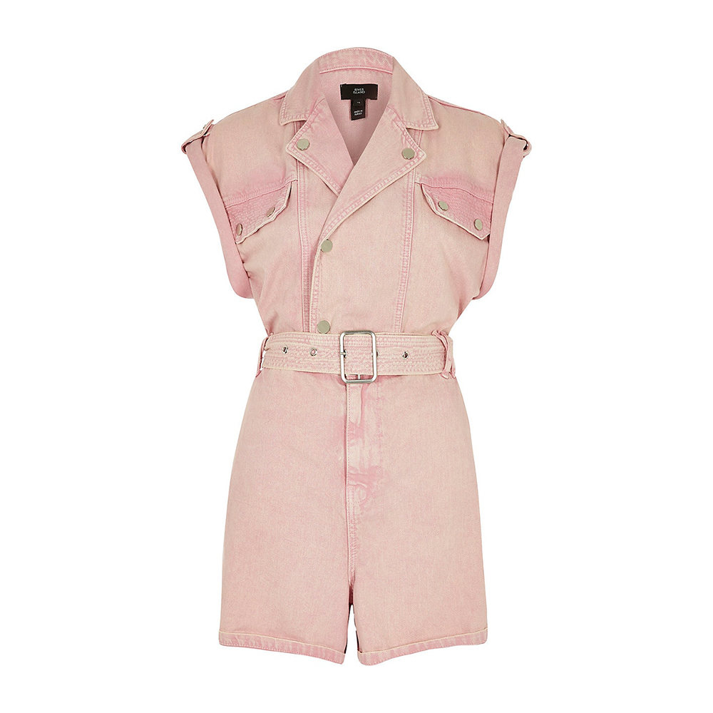 Combi-short Pink denim Jumpsuit