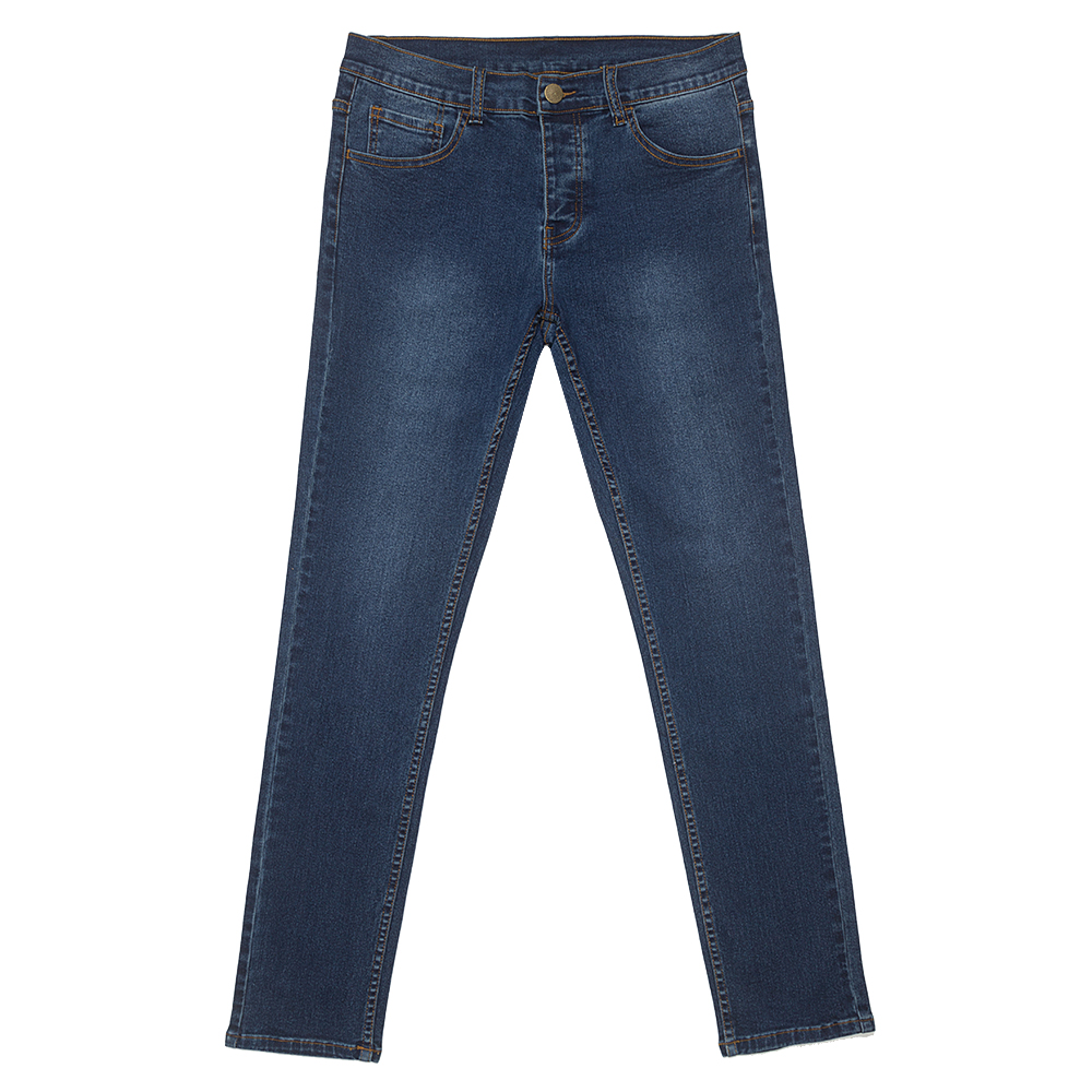 Middle Blue Elastic Slim Jeans